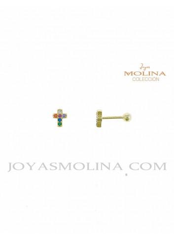 Pendientes dorados cruz piercing