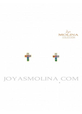Pendientes pequeños cruz dorada circonitas