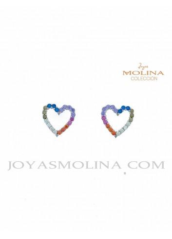 Pendientes de corazón con circonitas de colores