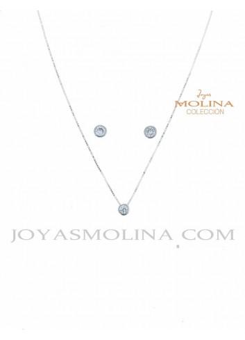 Conjunto pendientes y colgante plata con circonita