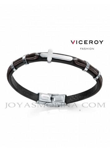 Pulsera Viceroy hombre trenzado marron y negro cruz
