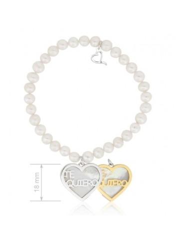 """Pulsera perlas con corazón plata-nacar """"Te quiero"""" Soul 304022"""