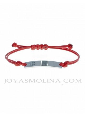 Pulsera alerta médica chapa acero cordón rojo