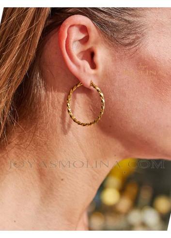 Pendientes de moda en acero dorado para mujer