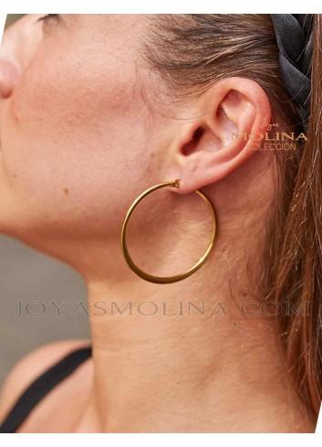 Pendientes de moda para mujer en acero dorado