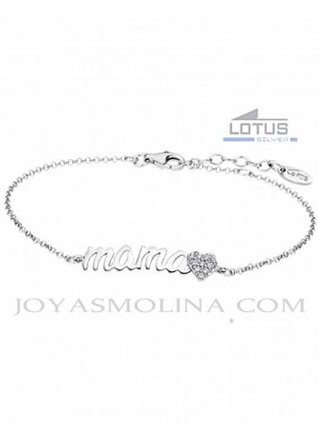 Pulsera plata Lotus Silver para mamá