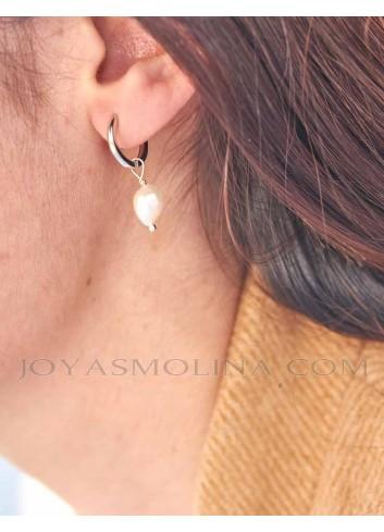 Pendientes aro en plata con perla
