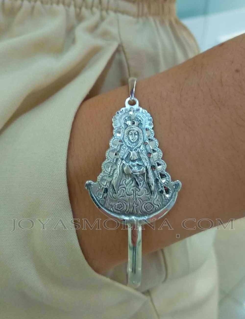 Pulsera Virgen del Rocio plata brazalete