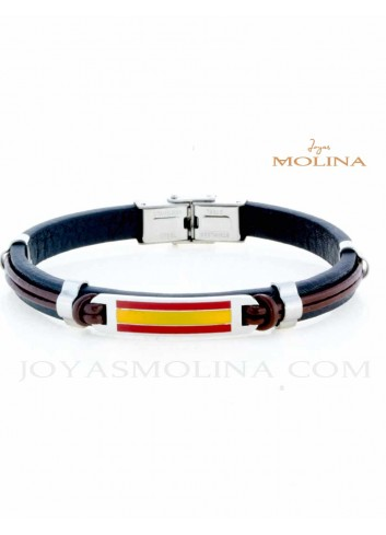 Pulsera de España en cuero doble negro y marron  y acero