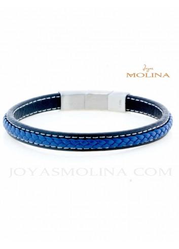 Pulsera de cuero para hombre trenzado azul y negro