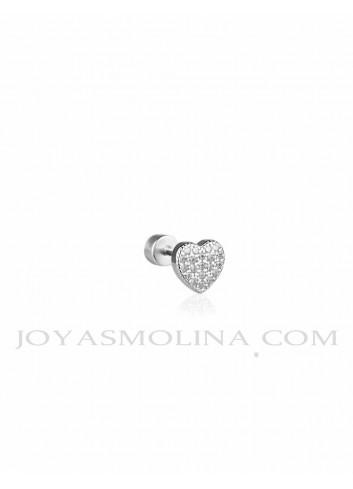 Piercing plata corazón circonitas