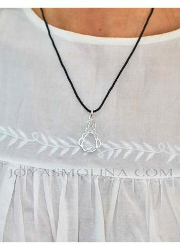 Medalla Virgen del Rocío plata calada pequeña