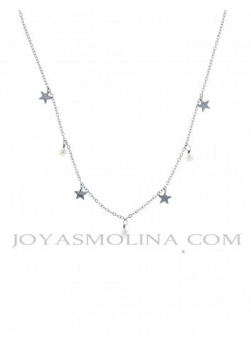 Gargantilla acero multi estrellas y perlas