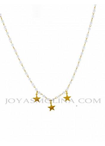 Gargantilla acero dorado perlas y estrellas