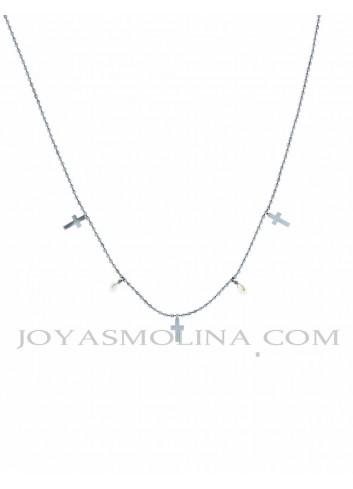 Gargantilla acero multi cruces y perlas