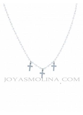 Gargantilla acero perlas y cruces