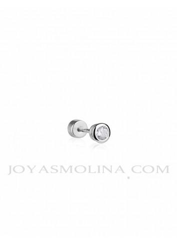Piercing plata circonita con bocel mediano