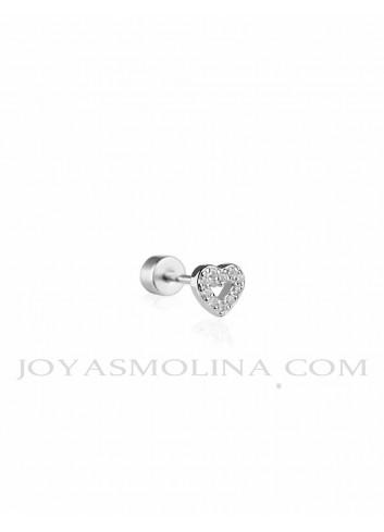 Piercing plata corazón circonitas calado