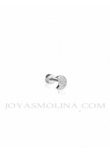 Piercing plata luna circonitas mini