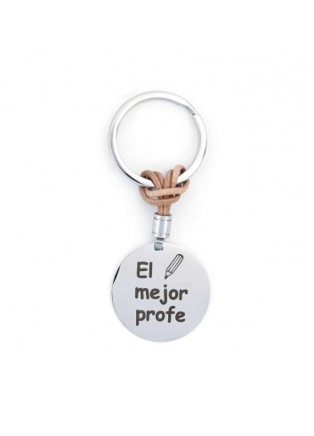 Llavero EL MEJOR PROFE redondo acero cuero marrón