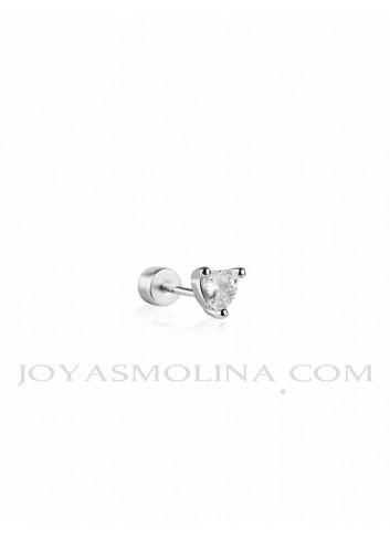 Piercing plata corazón circonita mini