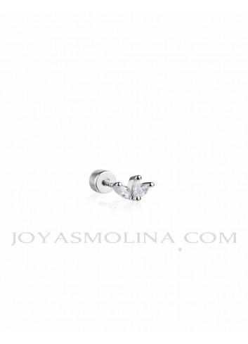 Piercing plata 3 hojas circonita mini
