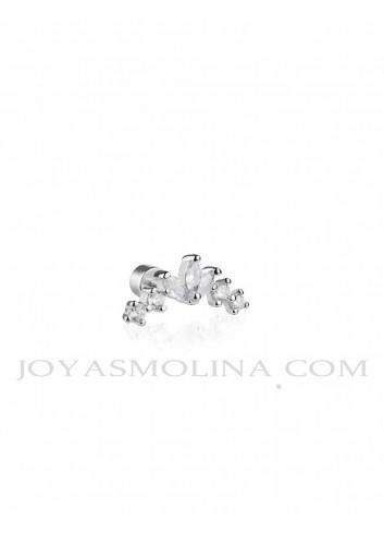 Piercing plata trepador cuatro circonitas y flor