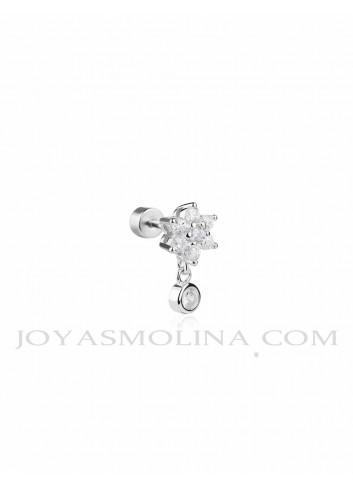 Piercing plata flor y circonita colgando