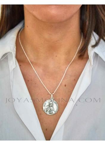 Medalla San Judas Tadeo plata grande mujer