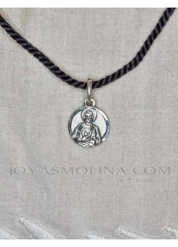 Medalla San Judas Tadeo mini plata mujer