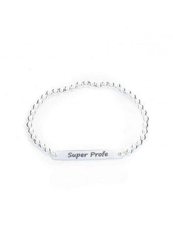 Pulsera SUPER PROFE plata bolas elastica