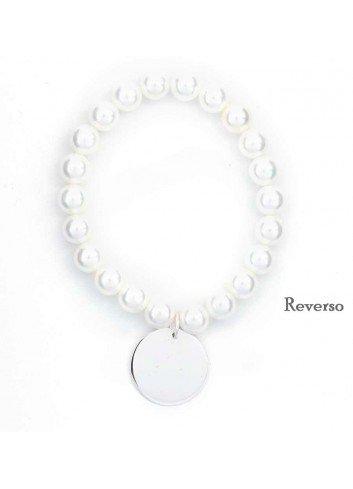 Pulsera GRACIAS POR SER MI PROFE plata perlas elásticas