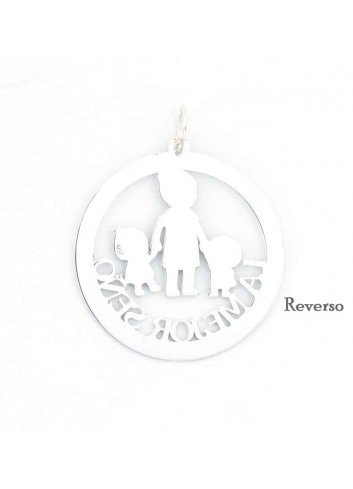 Medalla LA MEJOR SEÑO plata calada con niño niña