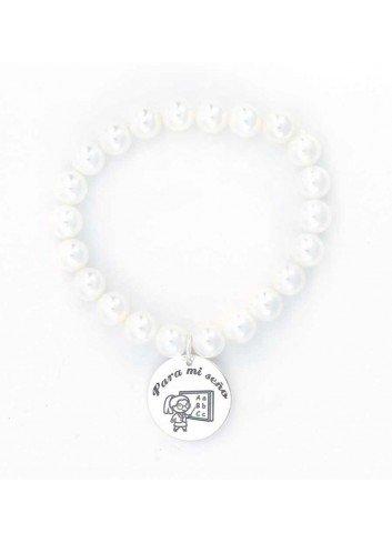 Pulsera PARA MI SEÑO perlas elásticas plata 21mm