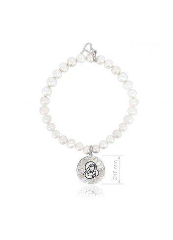 Pulsera perlas Virgen Niña plata-nacar Soul 302008