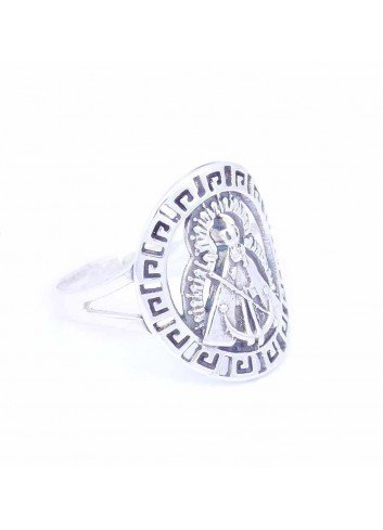 Sortija Virgen Cabeza bisel greca plata oval