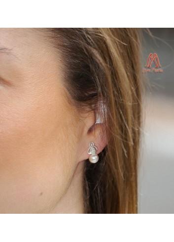 Pendientes plata Virgen de la Cabeza con perla 5mm