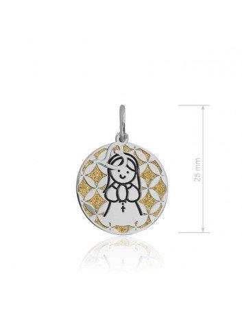 Medalla Virgen niña plata greca sobre dorado  Soul 301058