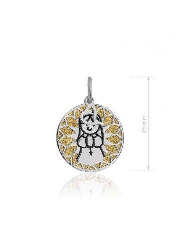 Medalla Virgen niña plata fondo dorado Soul 301054