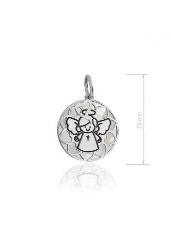 Medalla Angelote plata chapada fondo picado  Soul 301029