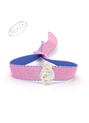 Pulsera cinta azul o rosa claro Virgen de la Cabeza plata 1,1x1,6cm