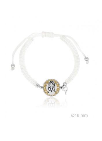 Pulsera Virgen niña plata fondo dorado macramé blanca Soul 303050