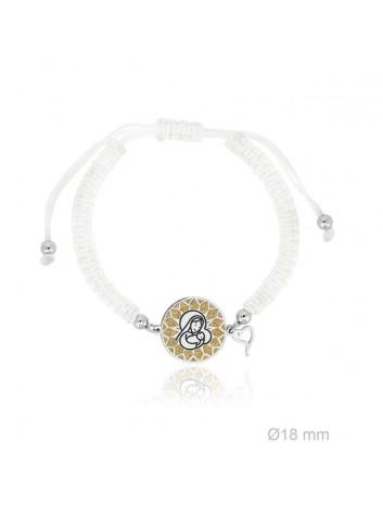 Pulsera Virgen niña plata fondo dorado macrame blanco Soul 303006