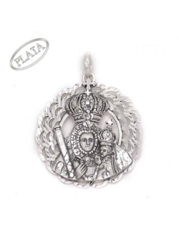 Medalla plata bisel ondas con Virgen de la Cabeza y niño Jesus