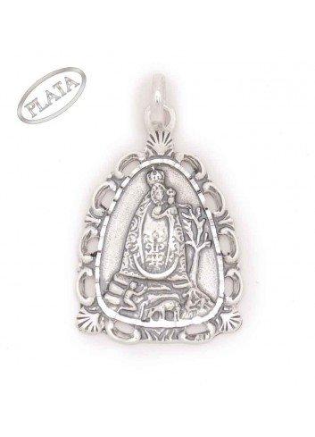 Medalla plata Virgen de la Cabeza aparición  triangular