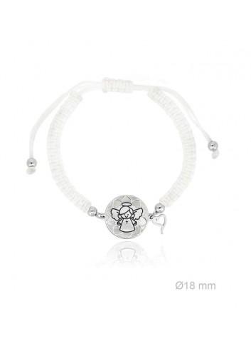 Pulsera angelote plata fondo corazones nácar macramé blanco Soul 303020
