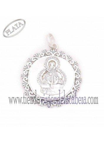Medalla plata y nacar rocalla con Virgen de la Cabeza