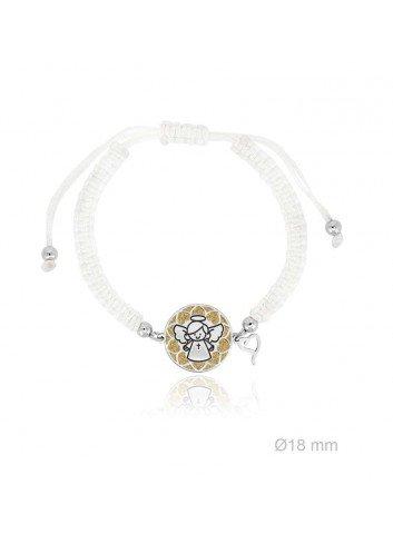 Pulsera angelote plata fondo corazones sobre dorado macramé blanco Soul 303018