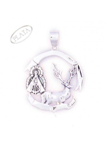 Medalla plata Virgen de la Cabeza con ciervo