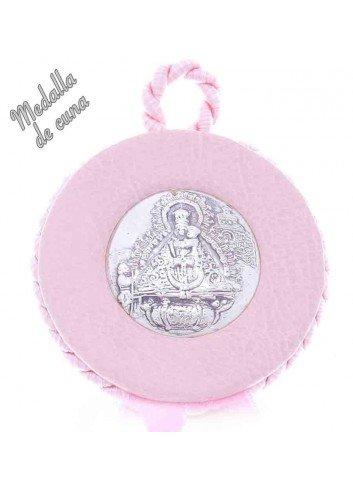 Medalla cuna Virgen Cabeza polipiel rosa plateada